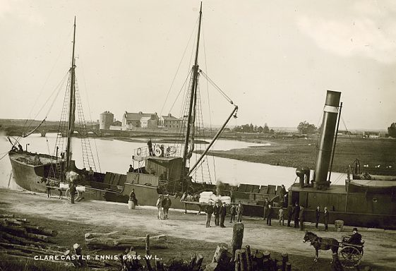 The Queen's Channel 1 tied up at Clarecastle Quay c. 1900 | Image Courtesy of the National Library of Ireland