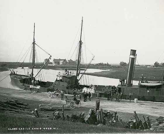 The Queen's Channel 2 tied up at Clarecastle Quay c. 1900 | Image Courtesy of the National Library of Ireland