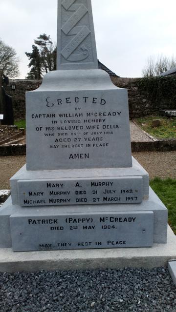 Captain McCready grave in Kilnasoolagh graveyard, Newmarket-on-Fergus. Photo by Eric Shaw