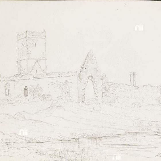 Clare Abbey drawing by William Fraser 1894 | NLI