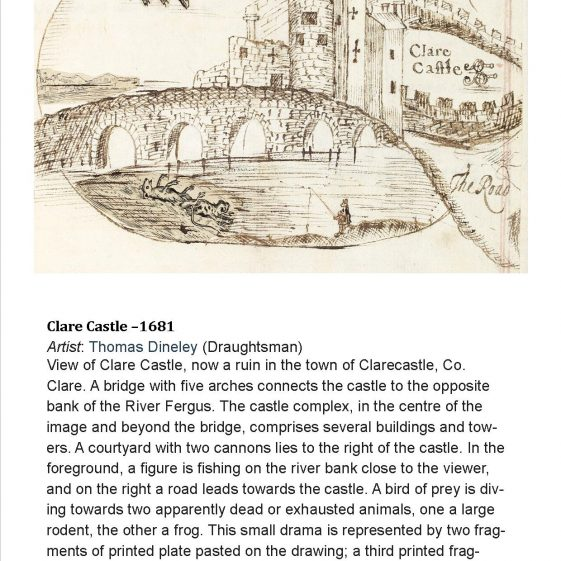 Clare Castle 1681 by Dineley. Image courtesy of NLI