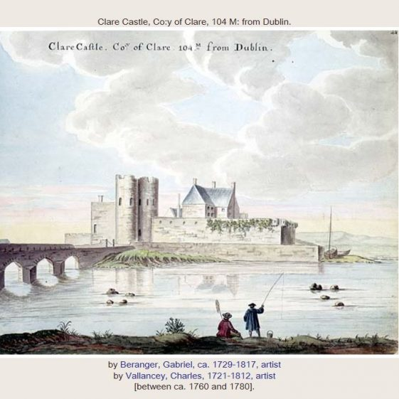 Clare Castle by Gabriel Beranger, drawn between 1760 and 1780. Image courtesy of NLI