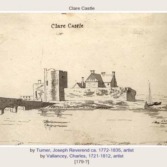Clare Castle engraved by Rev. Joseph Turner and drawn by Charles Vallancey. Image courtesy of NLI
