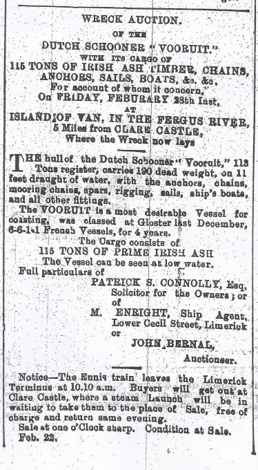 Newspaper notice of the auction in 1879 of the wreck of the Vooruit