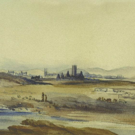 A painting entitled 'Clare Abbey & Ennis - from G's bedroom window (in Clare Barracks), Nov. 1846- River Fergus, Co. of Clare'. Courtesy of Donal Fitzpatrick