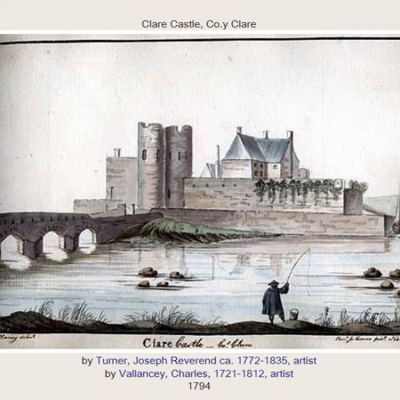 Clare Castle drawn by Charles Vallancey and engraved by Rev. Joseph Turner, 1794. Note the differences between the two drawings. Image courtesy of NLI