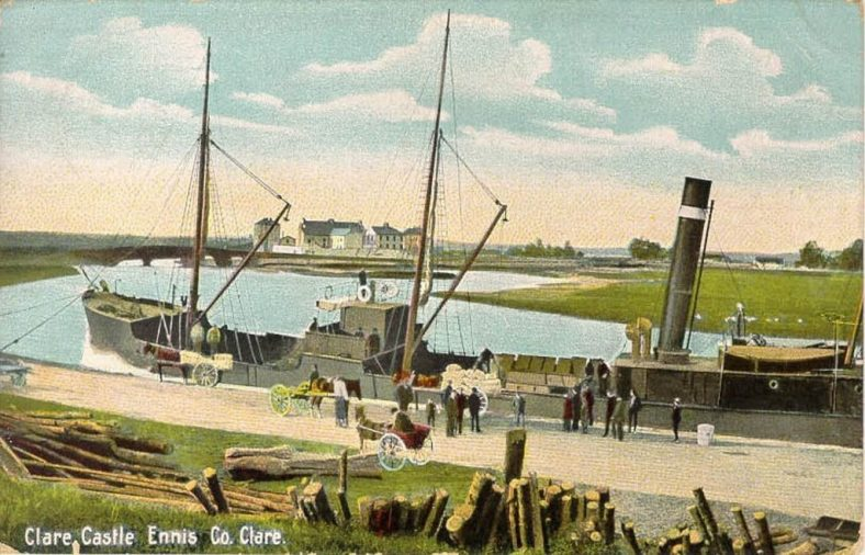 Clarecastle Quay c.1900 Tinted photo from Lawrence Collection, NLI.