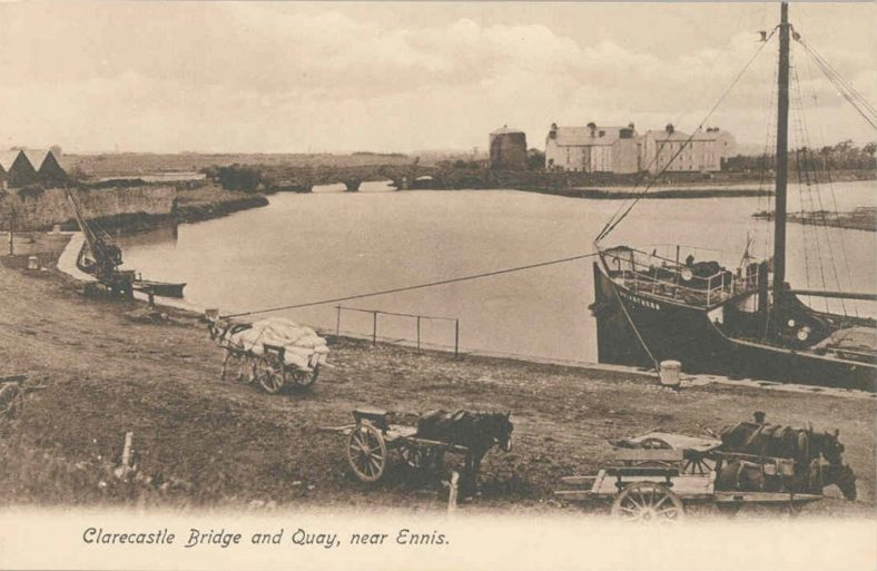 Postcard of Clarecastle Quay 1920 ex Lim Museum