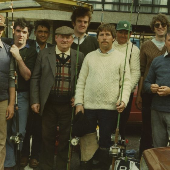 Fishing outing. Group includes Johnny Meere and Kevin Sullivan, Pascal O'Brien