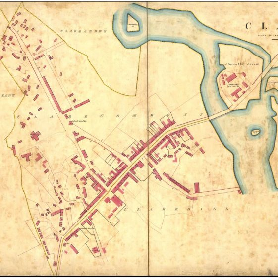 Griffith's Land Valuation Map of Clare Castle 1848 Courtesy of Clare Library.