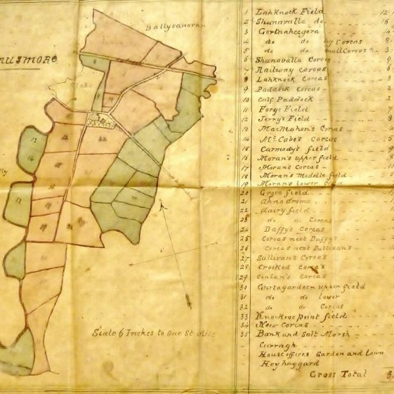 Manusmore Map showing fieldnames.c.1860 Courtesy of Pat andTess McInerney.