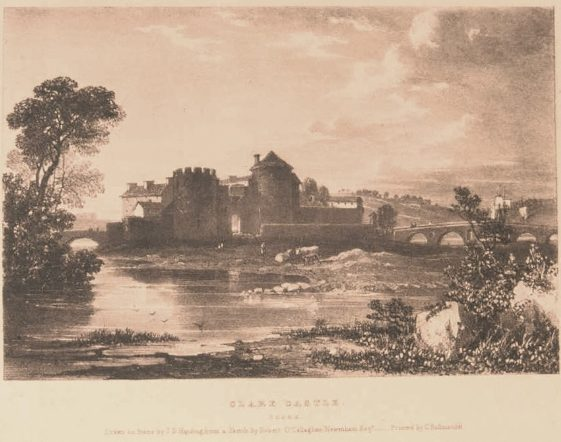 Clare Castle, Co. Clare- Drawn on stone by J.D. Harding from a Sketch by Robert O'Callaghan Newenham 1826-1830. The twin towers are a curiosity. Courtesy of Limerick City Museum