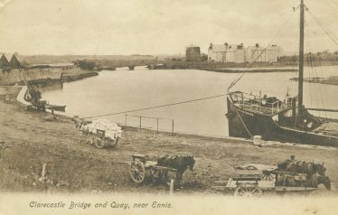 This postcard shows the SS. Brier Thorn tied up at Clarecastle Quay in about 1927. Postcard - CBHWG