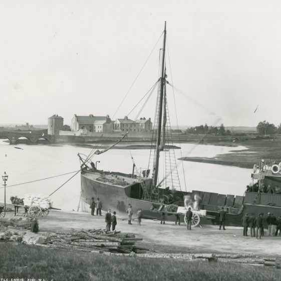 Queen's Channel 3 tied up at Clarecastle Quay c. 1900 | Image Courtesy of the National Library of Ireland