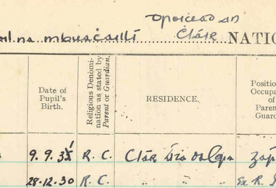 Ballyea School rollbooks  1888-1996