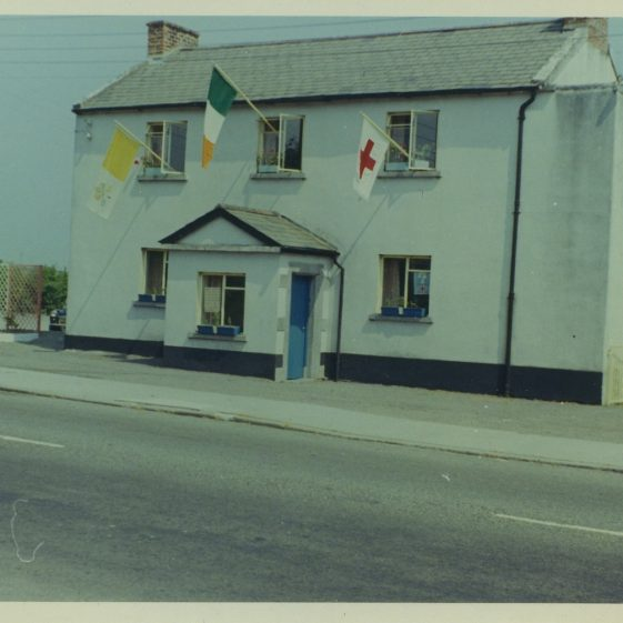 1843 School, Clarecastle, with outside stairs visible.