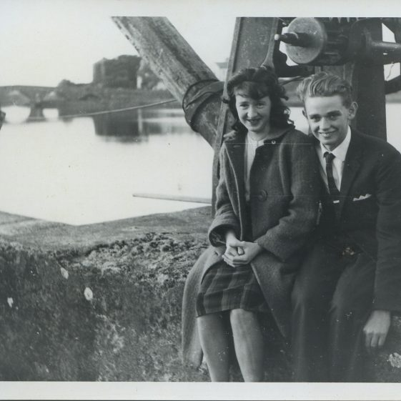 Pat Moloney and friend on the Crane at Clarecastle Quay