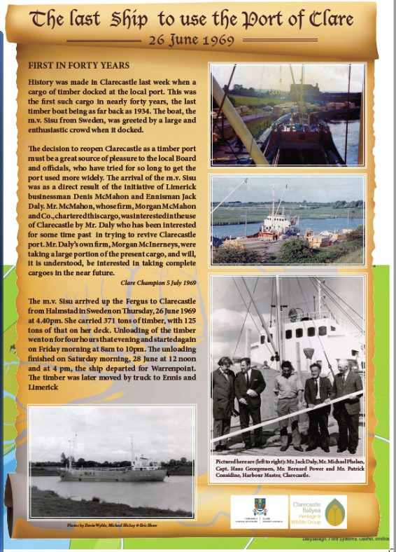 m.v. Sisu - the last ship to use the Port of Clare - poster by Eric Shaw