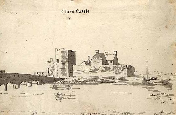 Clare Castle allegedly  by Westropp c. 1890. Image courtesy of Clare Library | Clare Castle by Westropp c. 1890