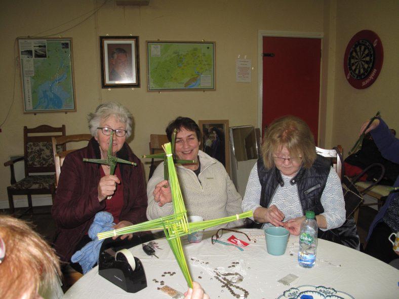 Clarecastle Women's Club making St. Bridget Crosses Geraldine Slattery, Brid Leyden and Ann Carey | Kathleen Barry