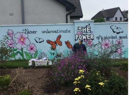 Clarecastle - the National Winner of the 2020 Tidy Towns Photography Competition. Photo by Christy Leyden. Mural by Niamh Hickey | Christy Leyden