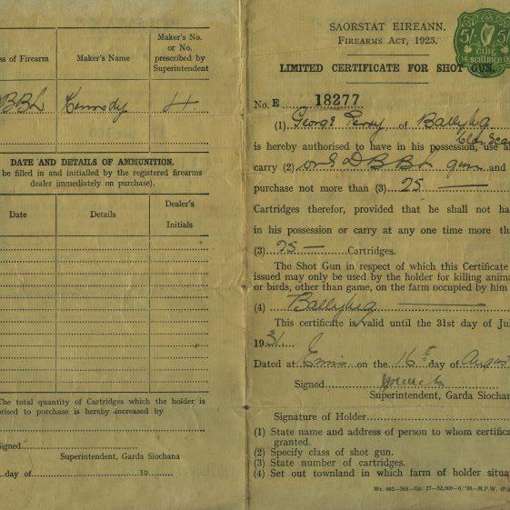 Perry of Ballybeg Gun Licence 1930 | Eric Shaw