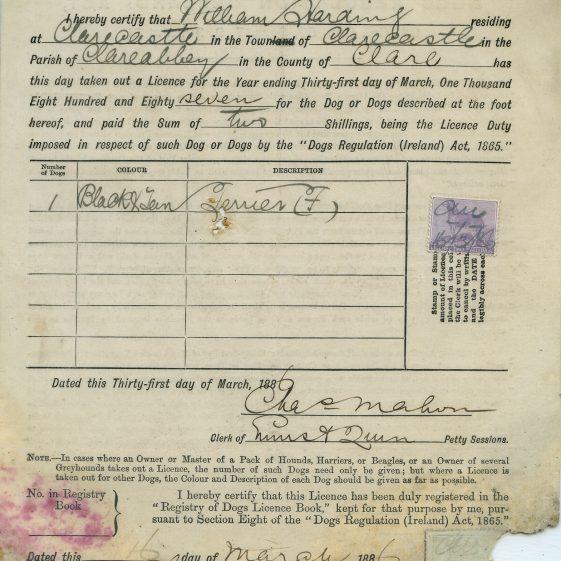 William Harding Dog Licence  | Eric Shaw