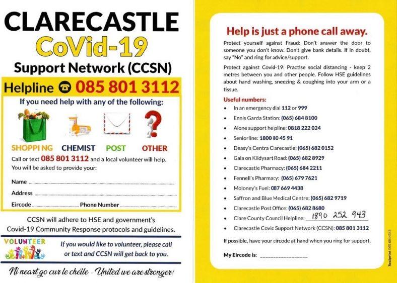 Clarecastle Covid-19 Support Network (CCSN) | Clarecastle Covid-19 Support Network CCSN