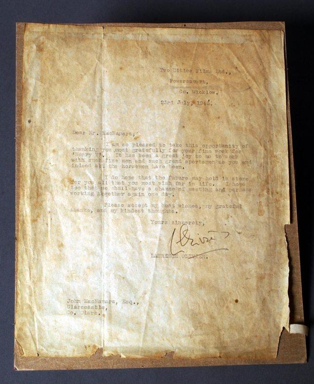 Laurence Olivier letter to Jack McNamara | Ennis Museum