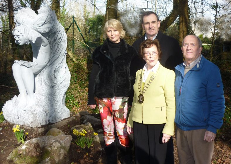 Unveiling of the Spirit of the Forest - 23 March 2014 Carmel Doherty - Sculptor, Mary Coote_ryan, Mayor of Ennis, Ger Dollard, Ennis Town Council, Eric Shaw, Clarecastle Heritage & Wildlife.   Christy Leyden