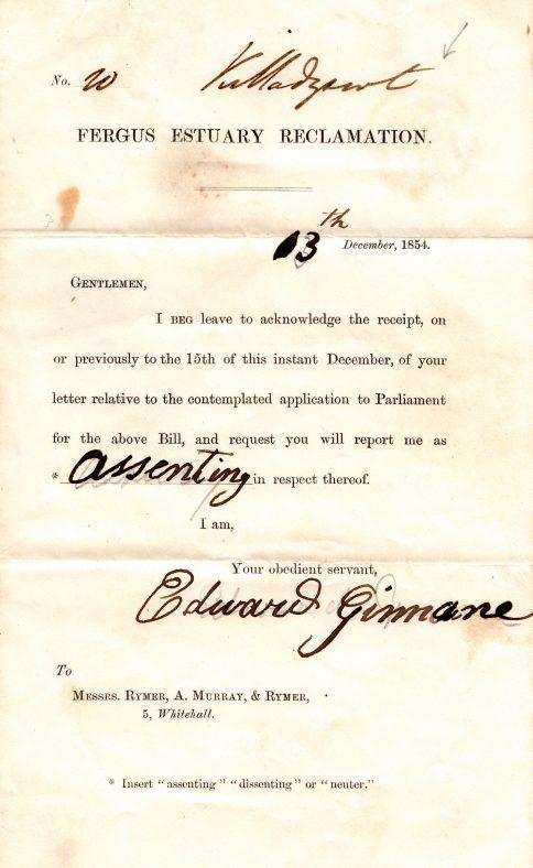 Fergus Estuary Reclamation letter of 13 Dec. 1854   Tony Cassidy