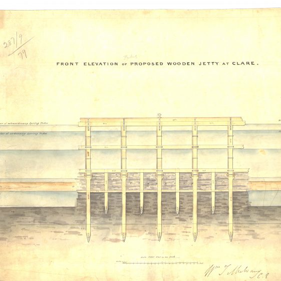 Front elevation of wooden jetty at Clare | With permission: archive.waterwaysireland.org