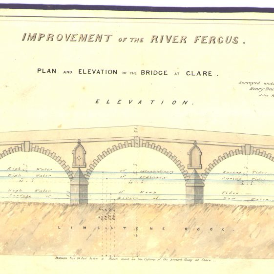 Plan and elevation of the bridge at Clare | With permission: archive.waterwaysireland.org